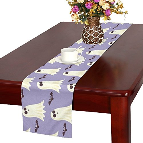 QYUESHANG Halloween Lilac Paper Pattern Holiday Autumn Table Runner, Kitchen Dining Table Runner 16 X 72 Inch For Dinner Parties, Events, -