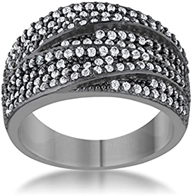 Two Tone Pave Clear Prong Setting April CZ Birthstone Lady Cocktail Ring Size 10