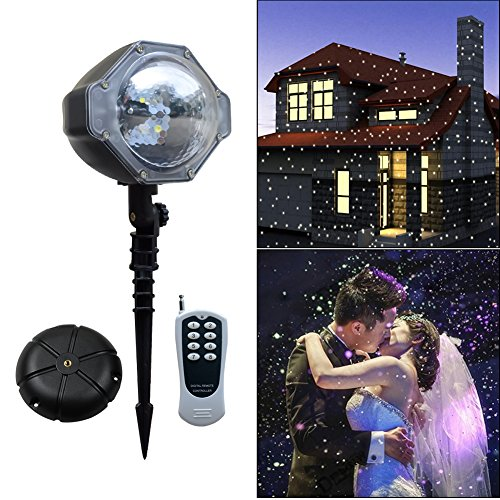 Hallowen Projector Light, [Wide Coverage Version] White Snowflake Auto Moving Christmas Light Projector, Snow-fall Light Show with Remote Rotating Projection Light Outdoor/Parties/Hallowen Decorations