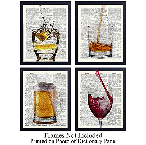 Upcycled Bar Dictionary Wall Art Prints - Set of Four (8X10) Vintage Unframed Photos - Perfect Gift for Game Room, Bar, or Man Cave Decor (Bar Wall Decor)