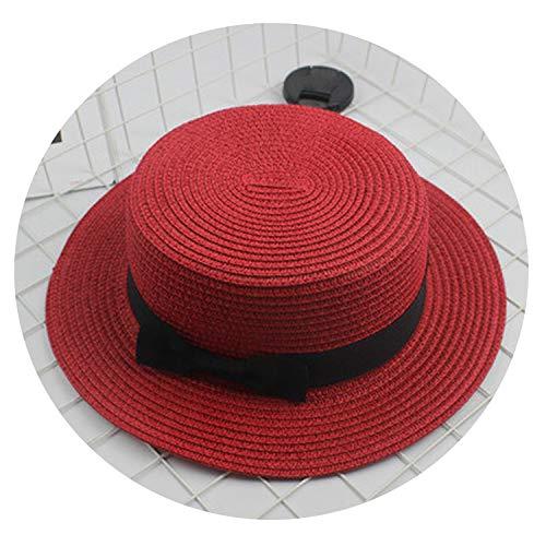 Parent-Child Sun hat Cute Children Sun Hats Bow Hand Made Women Straw Cap Beach hat,13,Adult Size(56-58cm) -