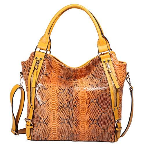 ZOCAI Women Top Hand Bag Two-Tone Python Embossed Shoulder Bag Yellow