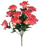"20.5"" Jumbo Diamond Rose Silk Flower Bush Wedding Bouquet - Coral"