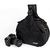 Caden Cross Bag Triangle Carry Case for DSLR Sony Canon Rebel Powershot, Nikon Coolpix,Kodah,Olympus,Pentax,Sony With Tripod Holder(Black k2)