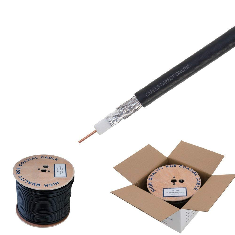 RG6 500ft Dual Shield Coaxial Cable, 18 AWG Copper Clad Steel Conductor, Foam PE Core, 60% aluminum braid, PVC Jacket, Reel in Box (500FT, Black) by Cables Direct Online