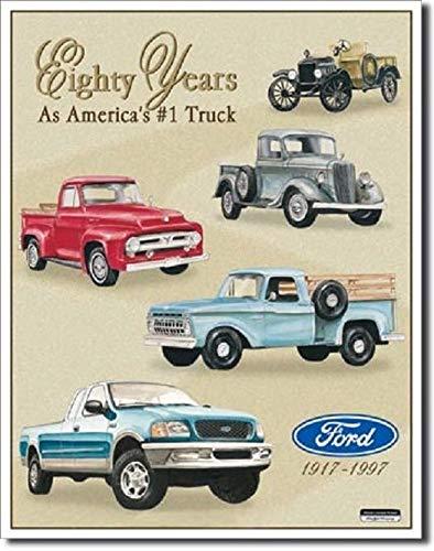 SRongmao Ford Trucks 80 Years of Pickup Car Dealer Logo Retro Wall Decor Metal Tin Sign 8x12in
