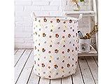 Gelaiken Lightweight Small Floral Storage Basket Pattern Storage Bag Cotton Storage Box Sundries Storage Bucket(White)