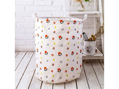 Gelaiken Lightweight Small Floral Storage Basket Pattern Storage Bag Cotton Storage Box Sundries Storage Bucket(White) by Gelaiken