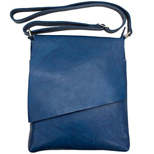 ili Leather 6842 Cross-body Handbag with RFID Lining (Jeans Blue)