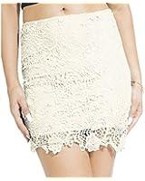 Women's Crochet Floral Lace Inner Lining Scalloped Trim Short Pencil Skirt