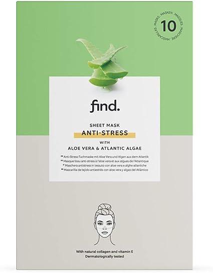 FIND – Mascarilla hidrogel, sin goteo, antiestrés con aloe vera y algas atlánticas