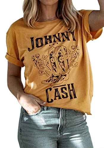 Women Summer T Shirt Johnny Cash Vintage Graphic Tees Funny Country Music Party Shirts Cute Yellow Short Sleeve Tops Blouse (Yellow, Medium)