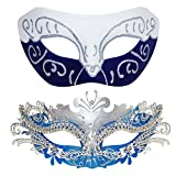 light blue mardi gras mask - Couple Masquerade Metal Masks Venetian Halloween Costume Mask Mardi Gras Mask (White-Blue+Sliver-Blue)