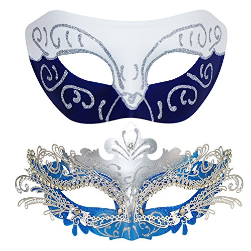 Couple Masquerade Metal Masks Venetian Halloween Costume Mask