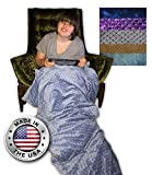 Weighted Blanket Creature Commforts for teens, adults - Removable cover, soft minky duvet, organic insert - Heavy sensory blanket made in USA - Extra Large 15 lbs 40 x 60 Denim Blue