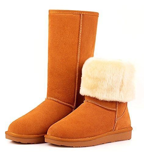Aisun Womens Classic Warm Comfy Addensare Stivali Da Neve A Metà Polpaccio Marrone
