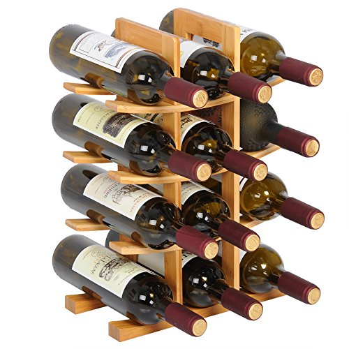 WOLTU Natural Bamboo Wine Rack Wine Holder for 12 Bottles Tabletop Counter Top Wine Display Shelf Stand, KIA02lbn-x