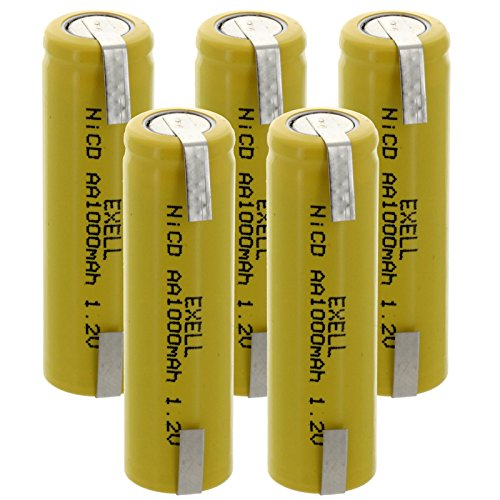 (5-PACK) Exell AA 1.2V 1000mAh NiCD Rechargeable Batteries with Tabs for high power static applications (Telecoms