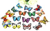 50pcs Colorful PVC Simulation Double Wing Butterfly (7+4.5cm pin)