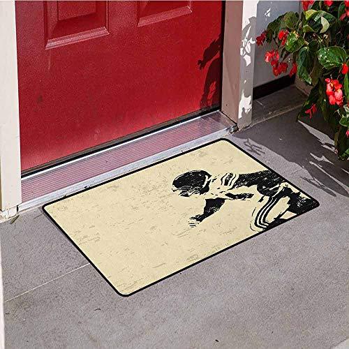 (GloriaJohnson Sports Front Door mat Carpet Rugby Player in Action Running Success in Arena Playground Sport Best Team Picture Machine Washable Door mat W15.7 x L23.6 Inch Beige Black)