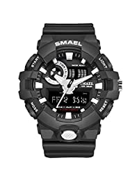 SMAEL Sports Watch, Analog Quartz Watch Dual Time Display Military Digital Watches with LED Backlight (Black+White)