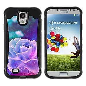 WAWU Funda Carcasa Bumper con Absorci??e Impactos y Anti-Ara??s Espalda Slim Rugged Armor -- neon violet rose vintage vignette flower -- Samsung Galaxy S4 I9500