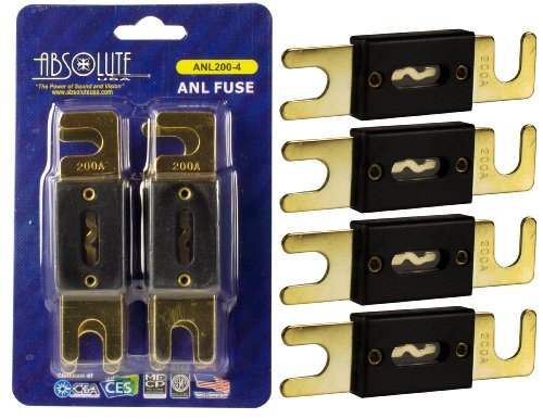 Absolute USA ANL200-4 4 Pack ANL 200 Amp Gold Plated Fuse