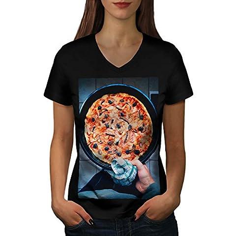 Italian Pizza Photo Food Women L V-Neck T-shirt   Wellcoda - Italian Jerky