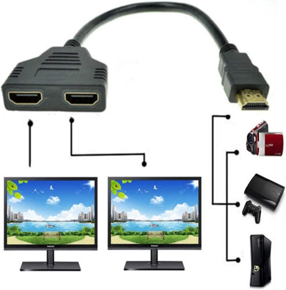 ZY HDMI Male to Dual HDMI Female 1 to 2 Way HDMI Splitter Adapter Cable for HDTV, Support Two TVs at The Same Time, Signal One in, Two Out(Black)