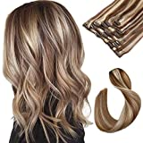 Clip in Hair Extensions Chestnut Brown with Blonde