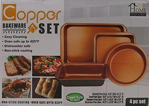 Home Innovations 4 pc Copper Bakeware Set Round, Loaf, Square, Roaster Pan