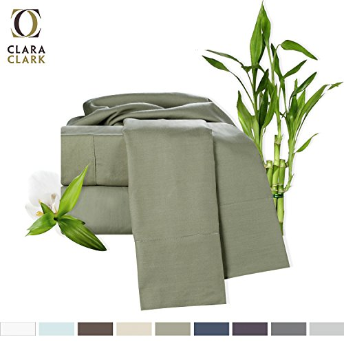 Strap Green Organic Cotton (Bamboo Bed Sheet Set, Sage (Green) Queen Size, By Clara Clark, 100% Rayon Made From Bamboo Sheets, Luxury Super Silky Soft With Extra Thick Corner Elastic Straps On Fitted Sheet, Machine Washable)