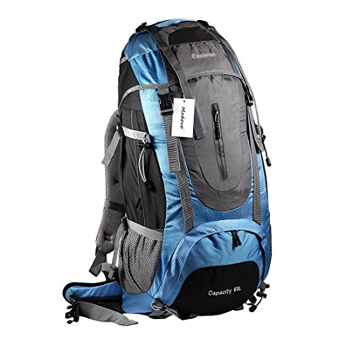 Modovo Creeper Internal Frame Pack Suspended Airy Bearing System for Camping Hiking Mountaineering 60L Blue