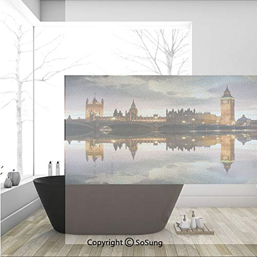 3D Decorative Privacy Window Films,Surreal Evening at Big Ben London Historical Architecture British Town UK Scene,No-Glue Self Static Cling Glass film for Home Bedroom Bathroom Kitchen Office 36x24 I