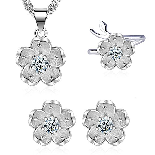 I'S ISAACSONG 925 Sterling Silver Sakura Flower Charm Cubic Zirconia Crystal Pendant Necklace and Earring Jewelry Set for Women and Girl (Pure White Cherry Flower Set) ()