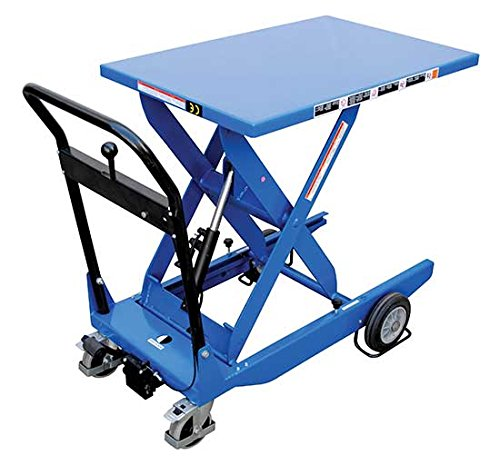 Lift Table Cart - BCART-S-FR Series; Scissor Type: Single; Lowering Method: Hand; Platform Size (W x L): 25-1/2'' x 45-1/4''; Raised Height: 36-1/4''; Lowered Height: 12-1/2''; Capacity (LBS): 600