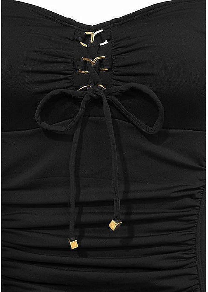 B2prity Damen Schlankheits Badeanzug Einteiler Swimsuit Blumen Einfarbig Einteilige Schwimmanzug Bauchweg Figurformend Bademode