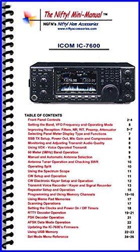 Manual Icom Radio (Icom IC-7600 Mini-Manual by Nifty Accessories)