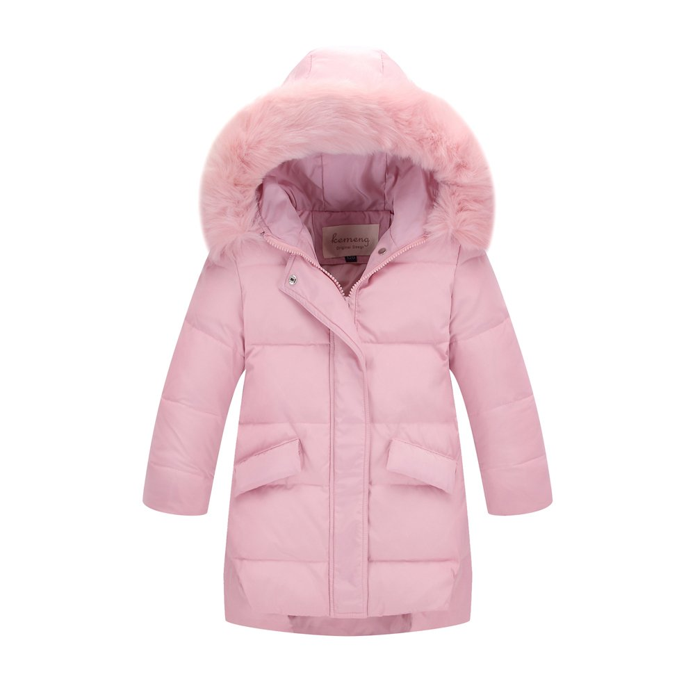 Ding Dong Kid Girl Winter Hooded Fur Down Parka Coat(Pink,5T)