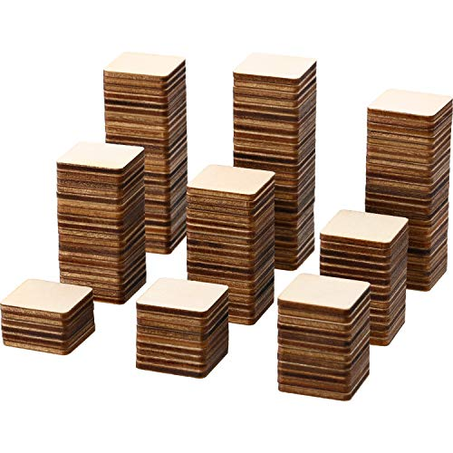 Unfinished Wood Pieces Blank Wood Squares Round Corner Wooden Cutouts for DIY Supplies, Craft, Decoration, Laser Engraving Carving (1 x 1 Inch, 300 Pieces)