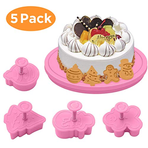 Christmas Cookie Cutters Set, Pastry Cookie Fondant Stampers+14cm Cake Turntable Rotating, Christmas Tree,Snowman for Christmas Kids Party (Tree Christmas Plunger Cutter)