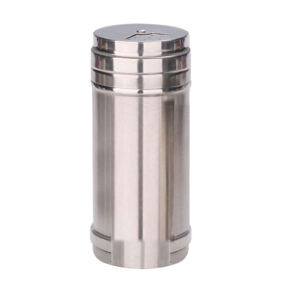 Kentop acero inoxidable small salero y pimentero con ajuste giratorio Bote para especias de acero inoxidable plata