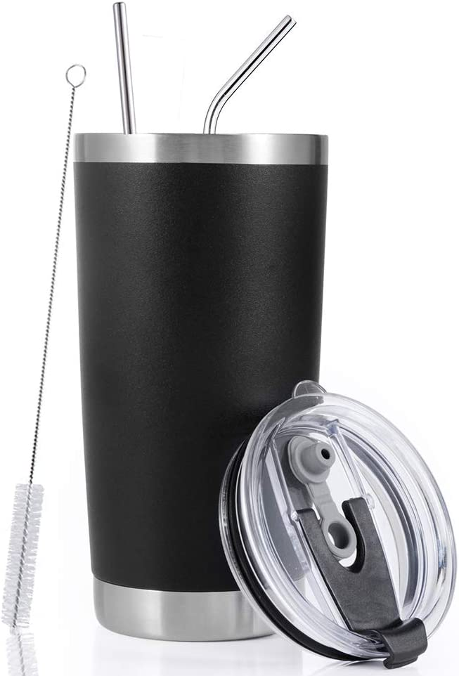 Toopify 20oz Stainless Steel Insulated Black Tumbler Travel Mug with Straw Slider Lid, Cleaning Brush, Double Wall Vacuum