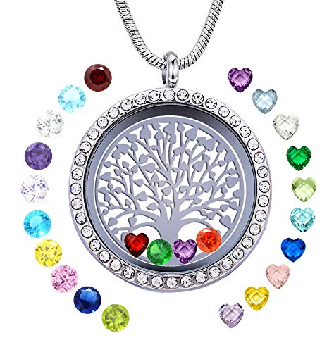 (JOLIN Family Tree of Life Floating Locket Necklaces, 30mm Round DIY Stainless Steel Pendant with 24PCS Birthstones, Chain, Pretty Box, Greeting Card, Gift for Women Girls)