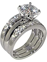 347 Ct Round Shape Cubic Zirconia Cz Solitaire Bridal Engagement Wedding 3 Piece Ring Set Center Stone Is 275 Cts