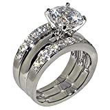 3.47 Ct. Round-shape Cubic Zirconia Cz Solitaire Bridal Engagement Wedding 3 Piece Ring Set (Center Stone Is 2.75 Cts)
