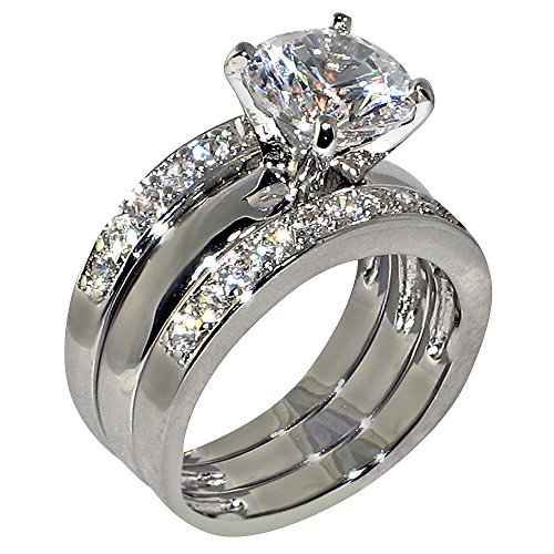 3.47 Ct. Round-shape Cubic Zirconia Cz Solitaire Bridal Engagement Wedding 3 Piece Ring Set (Center Stone Is 2.75 Cts) Size 6.5 ()