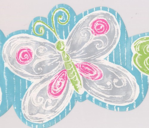 York Wallcoverings Grey Green Purple Butterflies Turquoise Wallpaper Border for Kids, Roll 15' x 7''
