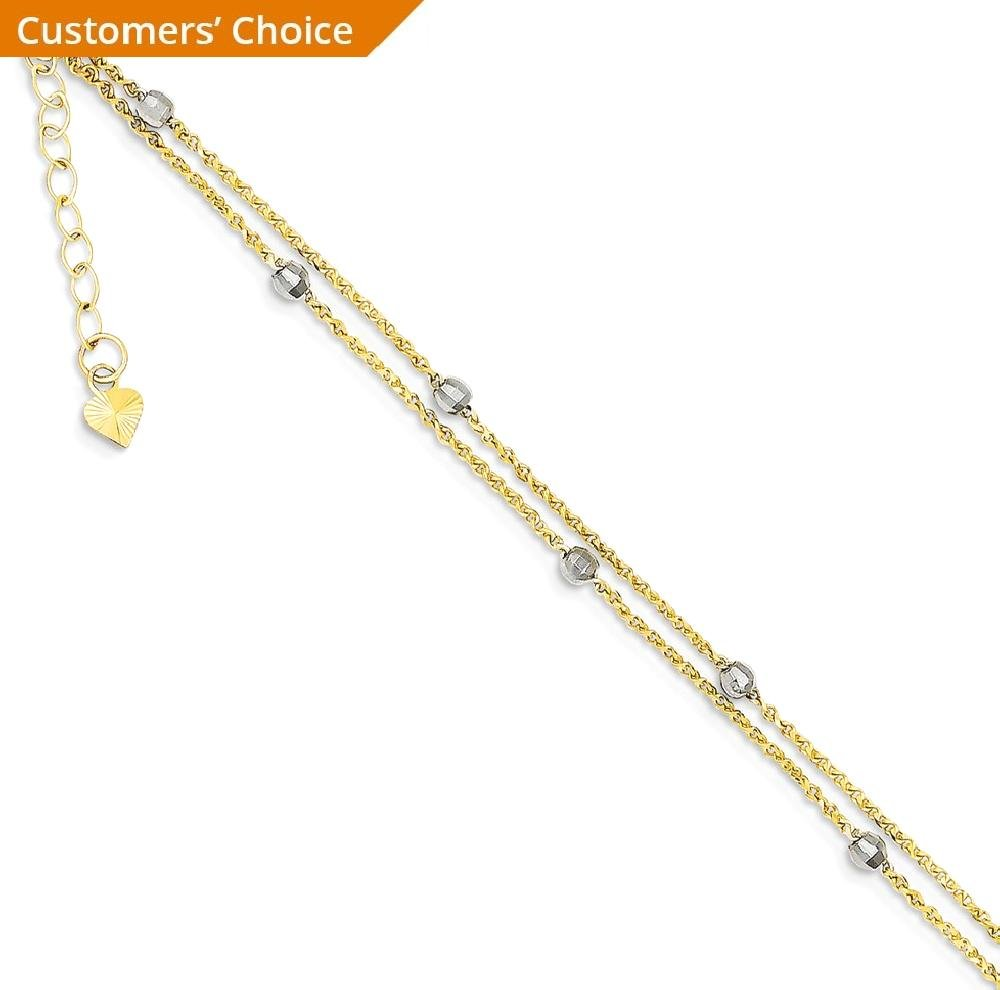 ICE CARATS 14k Two Tone Yellow Gold 2 Stand Spiga Mirror Beads 1 Inch Adjustable Chain Plus Size Extender Anklet Ankle Beach Bracelet Fine Jewelry Gift Set For Women Heart by ICE CARATS (Image #2)