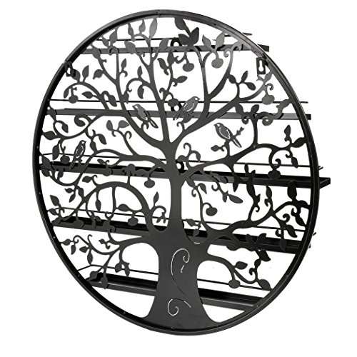 Lantusi Wall Mounted 5 Tier Nail Polish Rack Holder, Tree Silhouette Black Round Metal Nail Polish Storage Organizer Display, Great for Home, Business, Salon, Spa, and More (US STOCK) (Tree) by Lantusi (Image #5)